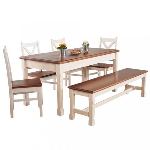 Stół Monaco Drewniany z krzesłami i z ławką